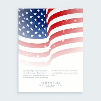 Flyer of 4th of july with american flag