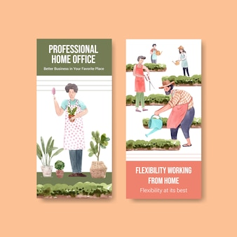 Флаер и дизайн шаблона брошюры с людьми работают из дома в саду. домашний офис концепция акварель векторные иллюстрации