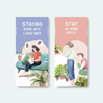 Flyer or brochure design stay at home concept with people character gardening and reading book watercolor illustration