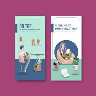 Flyer and brochure template design with people are working from home. home office concept watercolor vector illustration