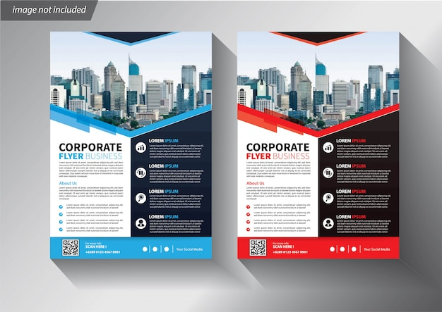 Flyer business template with geometric shapes