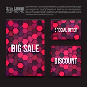 Flyer and card template design vector set