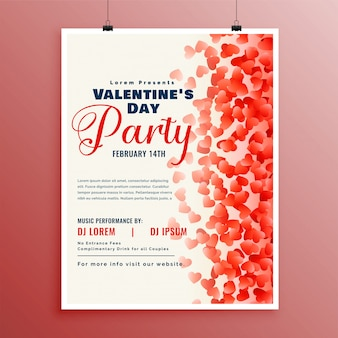Flyer design template for valentines day