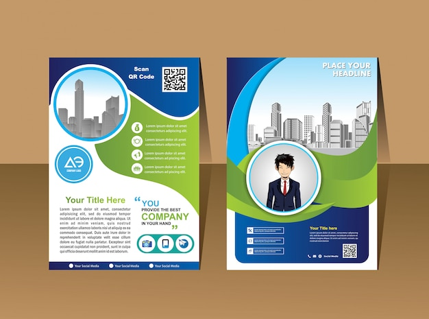 Flyer design template vector, leaflet presentation layout in a4 size