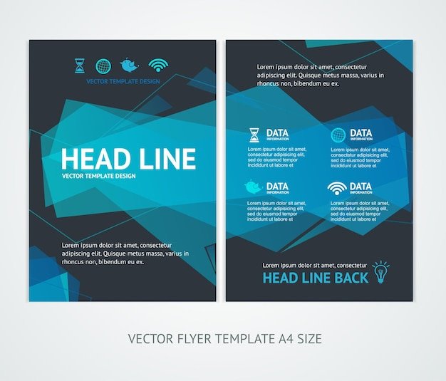 Flyer design templates abstract geometric wave.