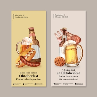 Flyer design with oktoberfest concept, beer and food