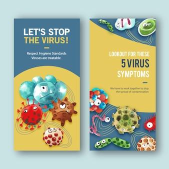 コロナウイルス、エボラウイルスのイラストの水彩画とチラシのデザイン