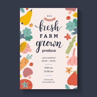 Flyer for farmers marketplace with lettering,  template
