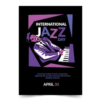 Flyer in flat design for international jazz day