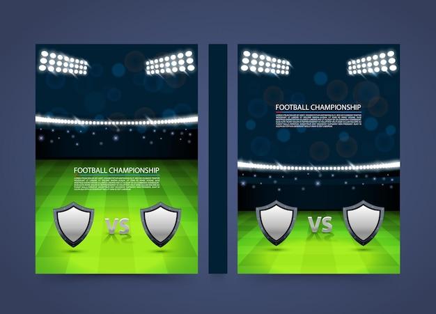 Флаер баннер чемпионата по футболу. обложка спички бумаги формата а4, элемент дизайна шаблона, вектор