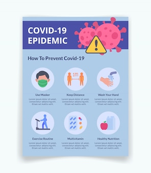Флаер для профилактики коронирусной инфекции covid-19 инфографики информация для шаблона баннера с современным плоским стилем