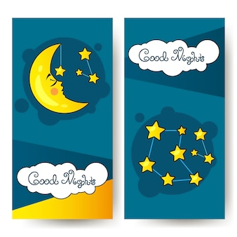 Flyer good nighth and big moon. art design for web, site, advertising, banner, poster, flyer, brochure, board card print