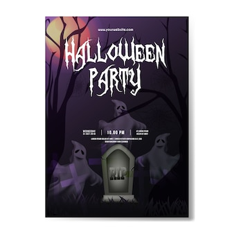 Flyer halloween background with ghosts