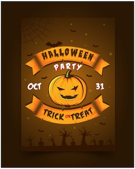 Flyer halloween party invitation illustration pumpkin jackskeleton