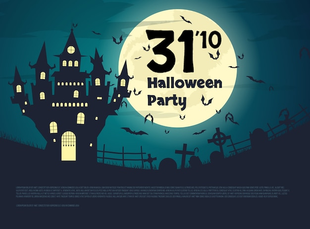 Flyer for halloween party. large castle with cemetery at night.