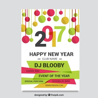 Flyer of happy new year 2017 with balls in flat design