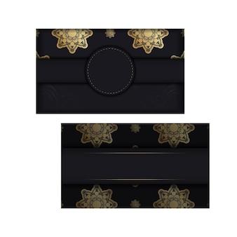 あなたのブランドのための豪華な金の装飾が施された黒のチラシ。