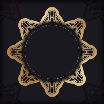Флаер черного цвета с роскошным золотым орнаментом для вашего бренда.