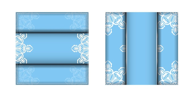 あなたのデザインのための曼荼羅の白い飾りと青い色のチラシ。