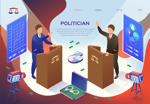 Flyer inscription politician, bribery charges. flat politician conflict between actions an elected person and interests society. political debate before election. illustration.