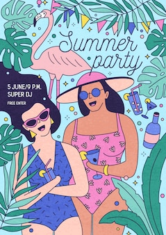 Flyer, invitation or poster template for summer party with happy women in swimsuits holding exotic cocktails and surrounded by tropical foliage. illustration for outdoor event advertisement.