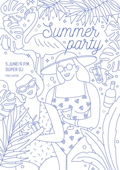 Flyer, invitation or poster template for summer party