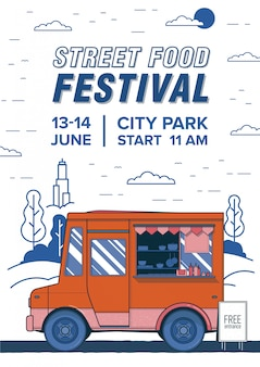 Flyer, invitation or poster template with van or caterer and place for text. street food festival advertisement, summer outdoor event promotion. colored illustration in modern flat style.