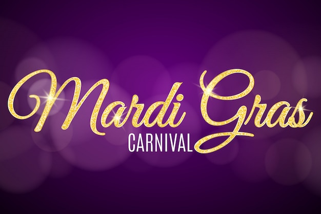 Flyer for mardi gras carnival. gold glitter text with golden sparkles.