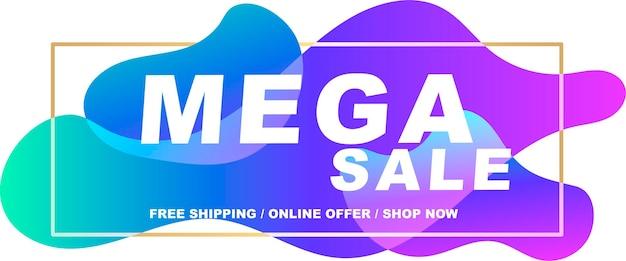 Flyer  mega sale banner for the website vector illustration