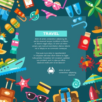 Flyer of  modern   seaside travel vacation icons and infographics elements