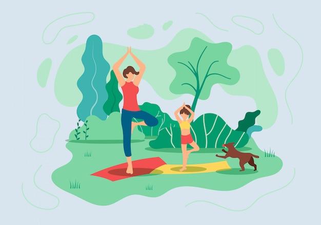 Флаер мать и дочь занимаются йогой на природе
