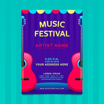 Flyer of music festival with guitars in gradient style
