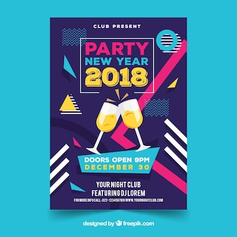 Flyer for new year party with champagne glasses