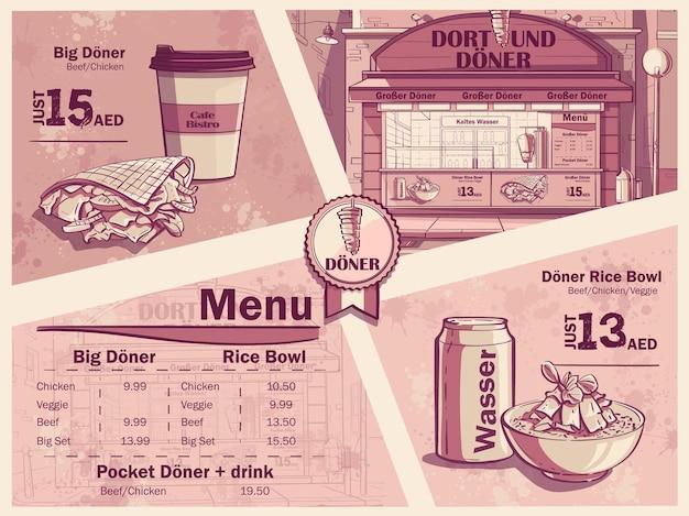 Флаер ресторана быстрого питания в дортмунде, германия. меню, бутерброд, бургер, вода. изображение лука донер кебаб, вода.