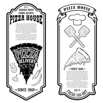 ピッツェリアのチラシ。ロゴ、ラベル、サイン、バッジ、ポスターのデザイン要素。ベクトル図