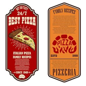 피자 가게 전단지. 로고, 레이블, 기호, 배지, 포스터 디자인 요소입니다. 벡터 일러스트 레이 션