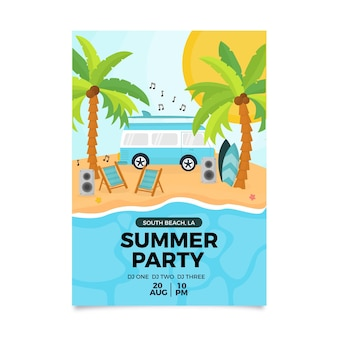Флаер летней вечеринки плоский дизайн
