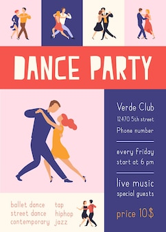 ダンスパーティーやお祭りの広告のためにアルゼンチンタンゴを踊るエレガントな人々とのチラシやポスターテンプレート