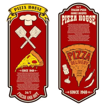 Flyer of pizzeria. design elements for logo, label, sign, badge, poster.vector illustration