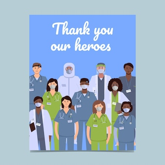 Flyer and postcard design: thank you our heroes.
