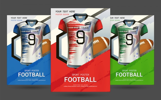 Шаблон обложки флаера и плаката с дизайном футбол джерси.