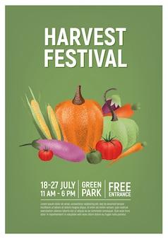Флаер, плакат или шаблон приглашения для фестиваля урожая со свежими органическими овощами или спелыми культурами и место для текста