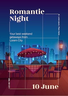 Flyer or poster of romantic night in cafe
