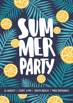 Flyer or poster template decorated with citrus slices and tropical foliage for summer party announcement.