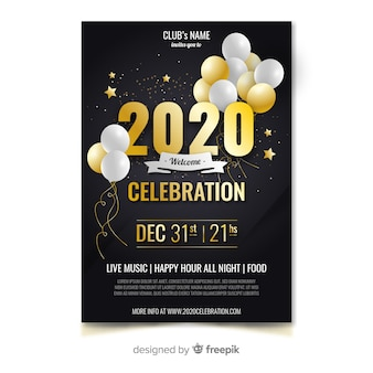 Flyer and poster template design for new year 2020 party