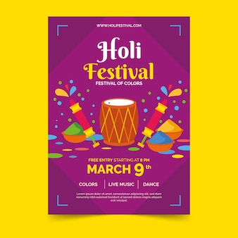 Flyer poster template for holi festival