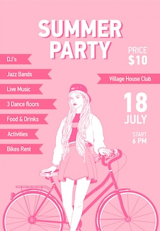 Flyer or poster template with young woman dressed in trendy clothes leaning her back on city bike drawn with contour lines on pink background. illustration for summer party promo, advertising.