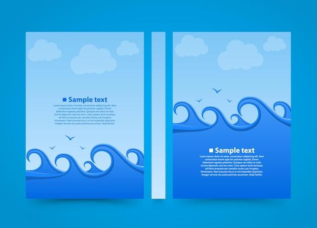 Флаер книга баннер морской волны. летний пляж бумаги формата а4, элемент дизайна шаблона, вектор