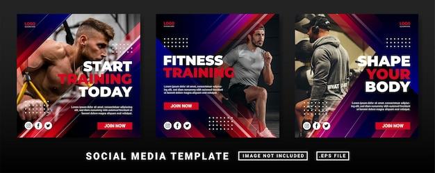 Flyer or social media post template. gym fitness social media post template