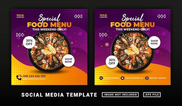 Flyer or social media post themed burger food menu template